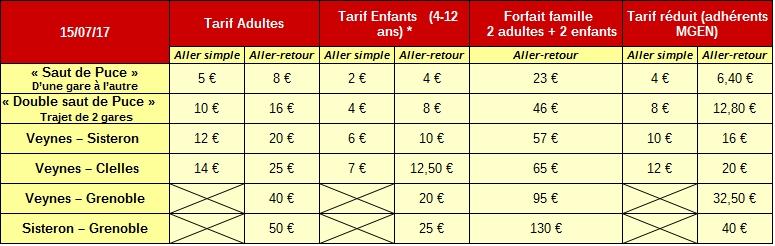 tarif 15 juillet