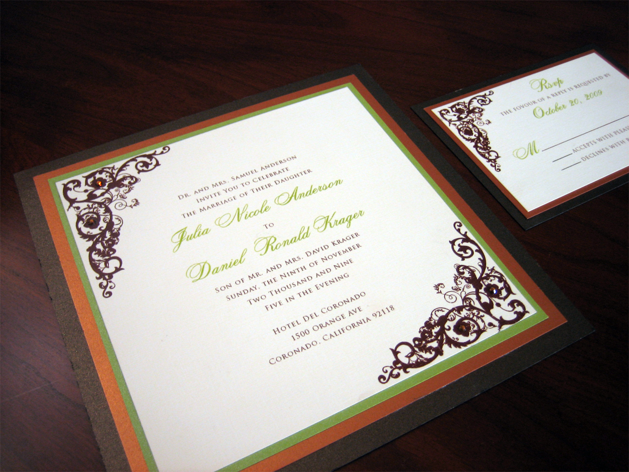 08 autumn wedding invitations Orange Green and Brown Wedding Invitation