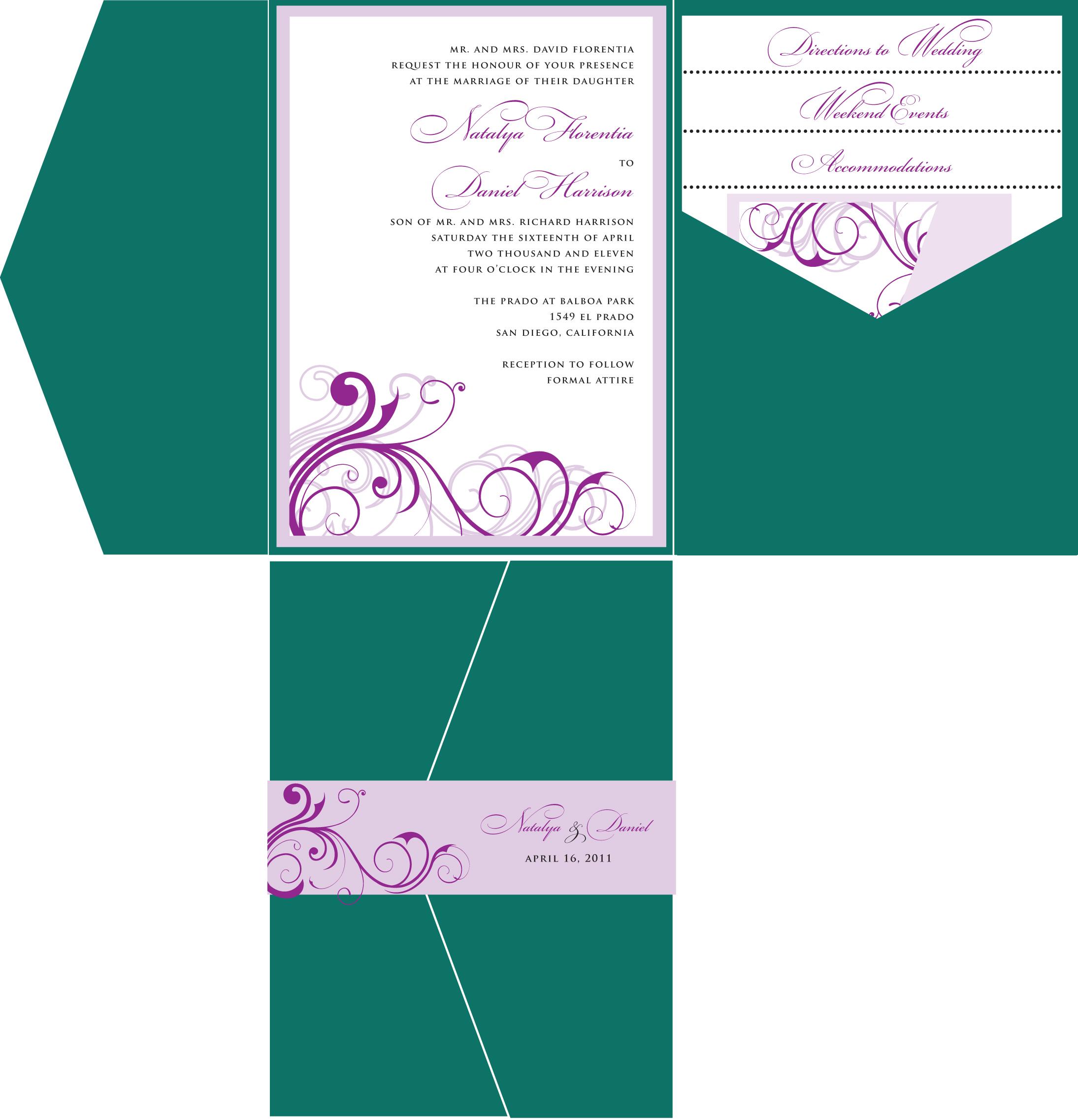 scroll wedding invitation customizable wedding invitations Emerald Green and Lavender Wedding Invitation