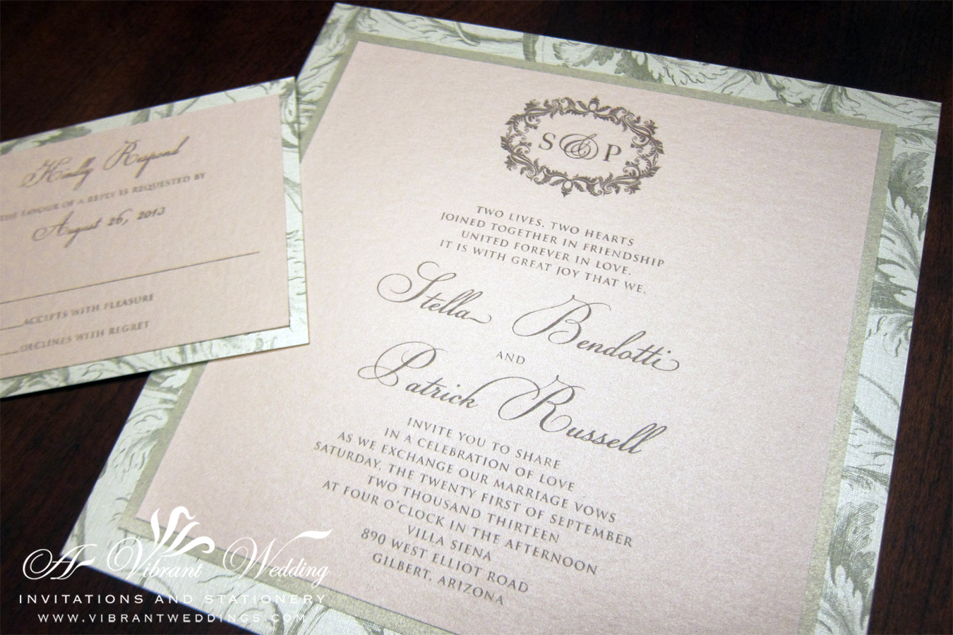 victorian wedding invitation blush wedding invitations Triple layered Blush and Champagne Wedding Invitation with Plumes Leaf Scroll Pattern Border