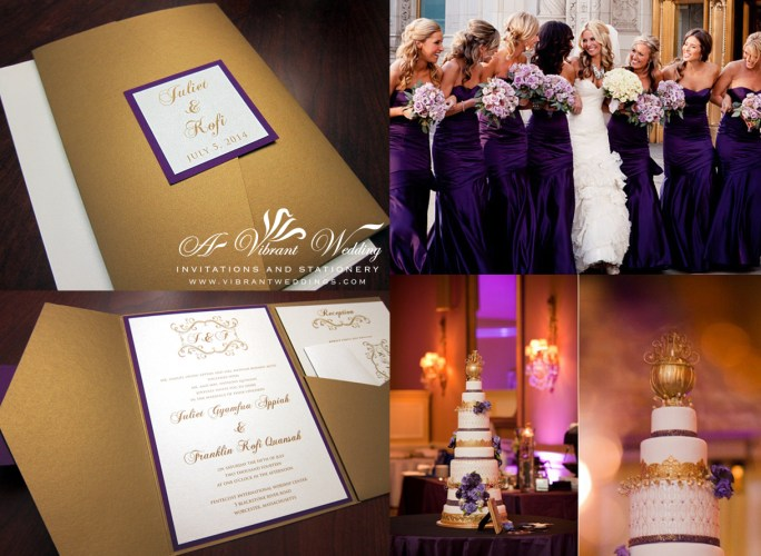 purple and gold wedding invitation purple and gold wedding Gold and Purple Wedding Invitation Pocket fold Style Monogram in Scroll