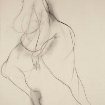 La Gorda, 84 x 64 inches, charcoal on raw canvas