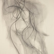 Nude Drawing, 84 x 60 inches, charcoal on raw canvas