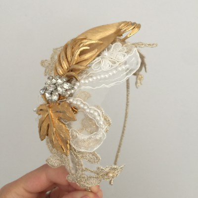 Vintage Gold and Lace Headdress No.1503