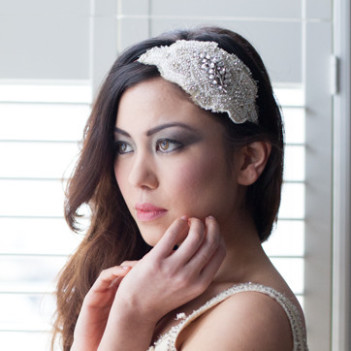 Celebration Vintage Silk and Beaded Bridal Cap Headpiece no.3
