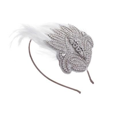 Celebration Rhinestone and Feather Bridal Cap No.10