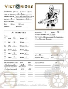 front side of character sheet for Jolly Roger NPC