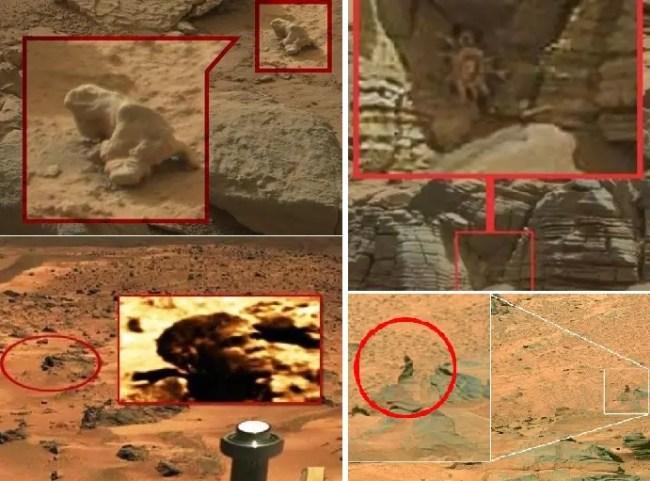 وشاهدوا في المريخ ما يشبه العقرب والضفدع والمرأة الجالسة على صخرة، حتى وأوباما أيضا