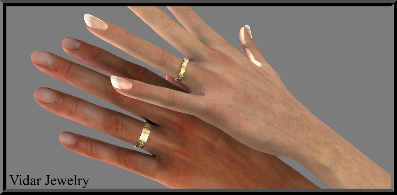 his and hers matching wedding band set two tone wedding band His and Hers Matching Wedding Band Set