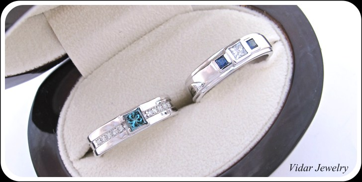 vidarjewelry wedding band for her His And Her Matching Blue Diamond Blue Sapphire Wedding Band Set