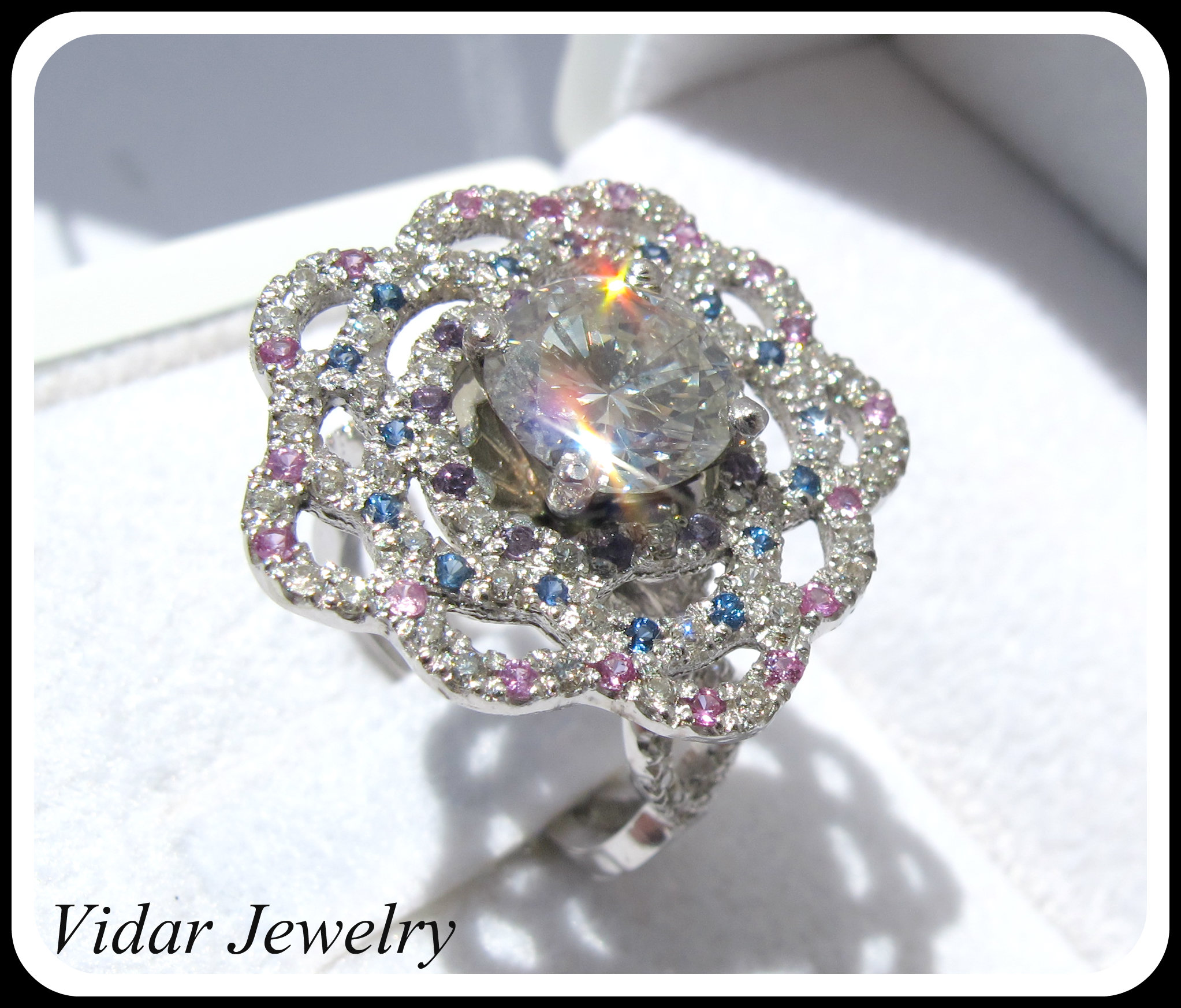 vidarjewelry tire tread wedding band 2 Ct Diamond Flower Engagement Ring