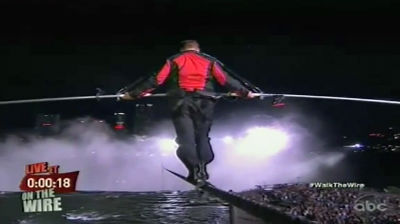 Nik Wallenda Walks Across The Niagara Falls