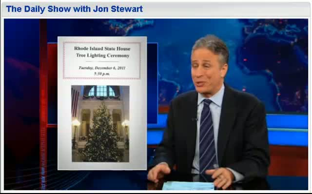 Comedy Central The Daily Show Jon Stewart Tree Fighting Ceremony 12-06-11