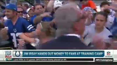 Irsay hands out money