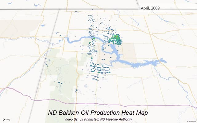 Bakken Oil Heat Map Jan 2005 to Jan 2013