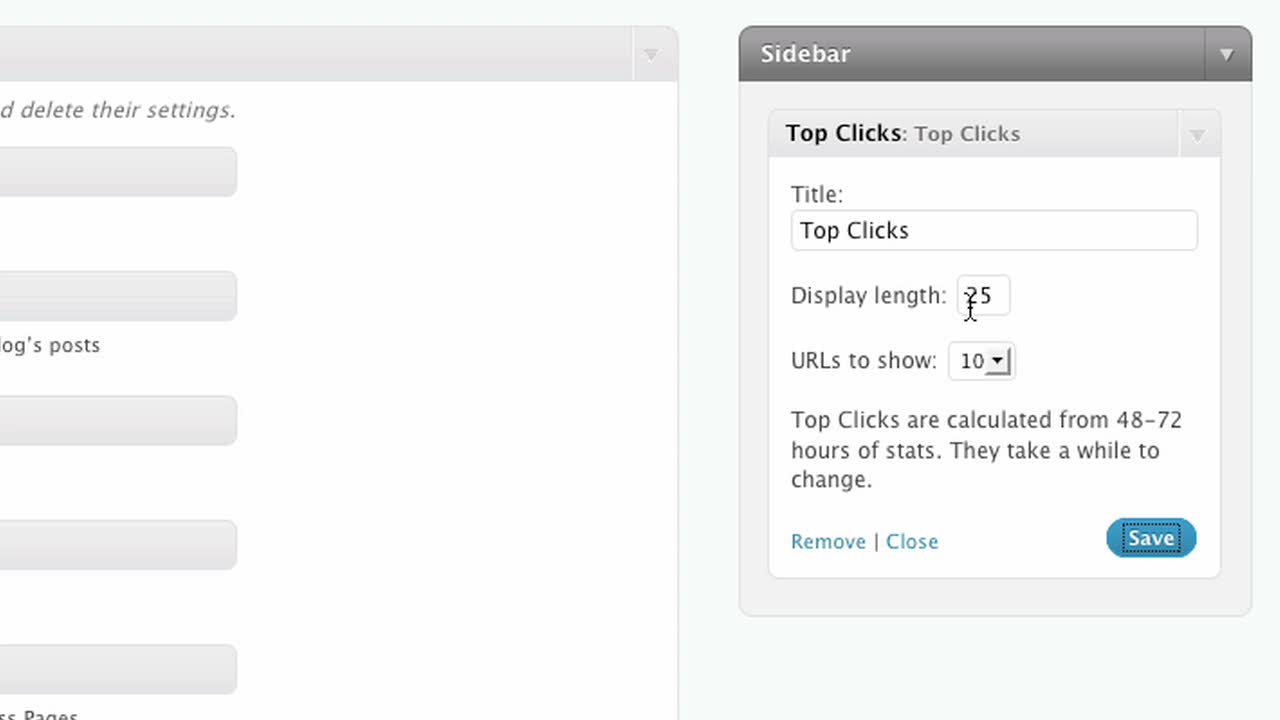 The Top Clicks Widget