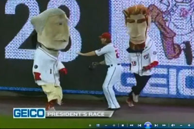 Jayson Werth interferes with the presidents race
