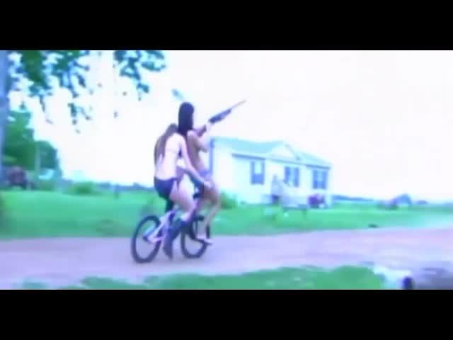 Idiot Girls In Bikinis Try Bike Shotgun Stunt, Almost Blow Feet Off