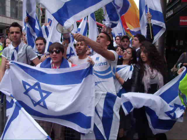 Singing Israeli songs at &#8220;Naqba Day&#8221;, 15th May.
