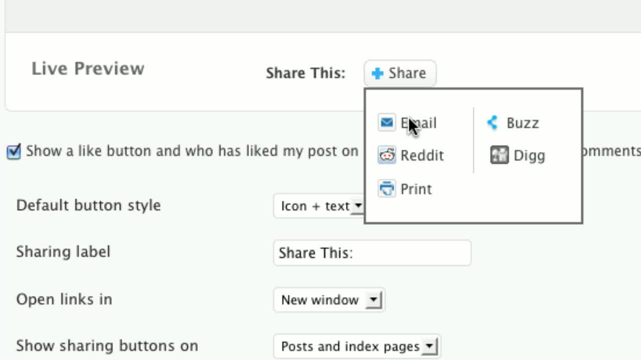 Sharing Options For WordPress.com