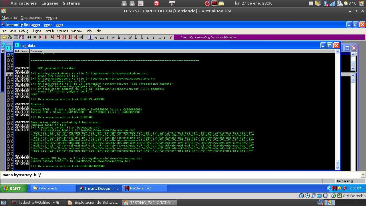 Explotación de Software Parte 27 – Uso de Mona en Inmunity Debugger para agilizar el desarrollo de exploit