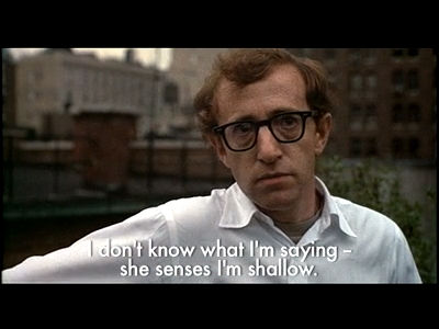 Annie Hall balcony scene with Alvy's subtitles