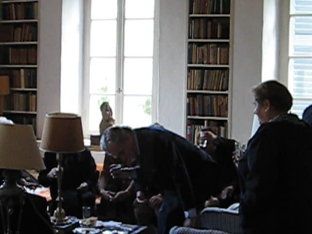 Sir Patrick Leigh Fermor at his home on his Name Day, November 2007 with the locals