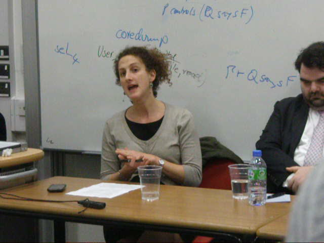 Hannah Weisfeld at KCL 1 Nov. 2011 (www.richardmillett.wordpress.com)