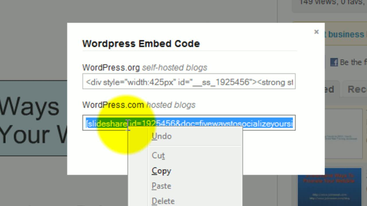 Using SlideShare on WordPress.com