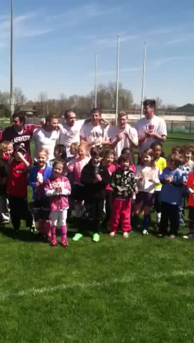 The 5-7 Year Old group Chants &#8216;Athletes C.A.R.E.&#8217;