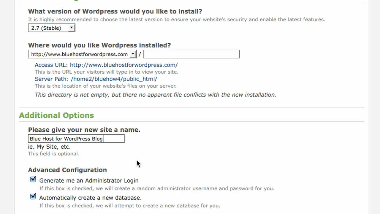 1-Click Self Installation of WordPress with Bluehost