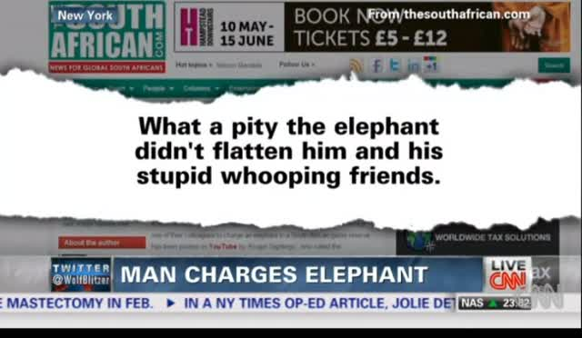 MAN CHARGES ELEPHANT AND—