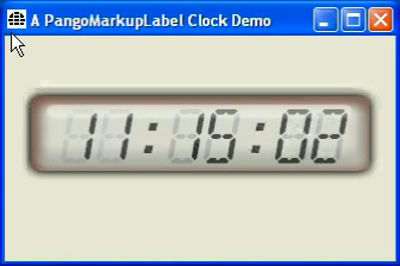 PangoMarkupLabel Clock Demo