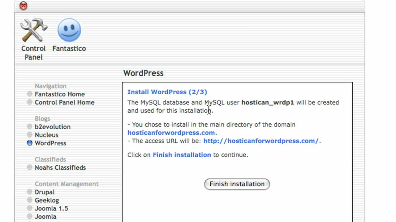 1-Click Self-Installation of WordPress with Host-I-Can