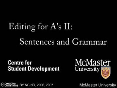 Editing for Au0092s II- Sentences and Grammar