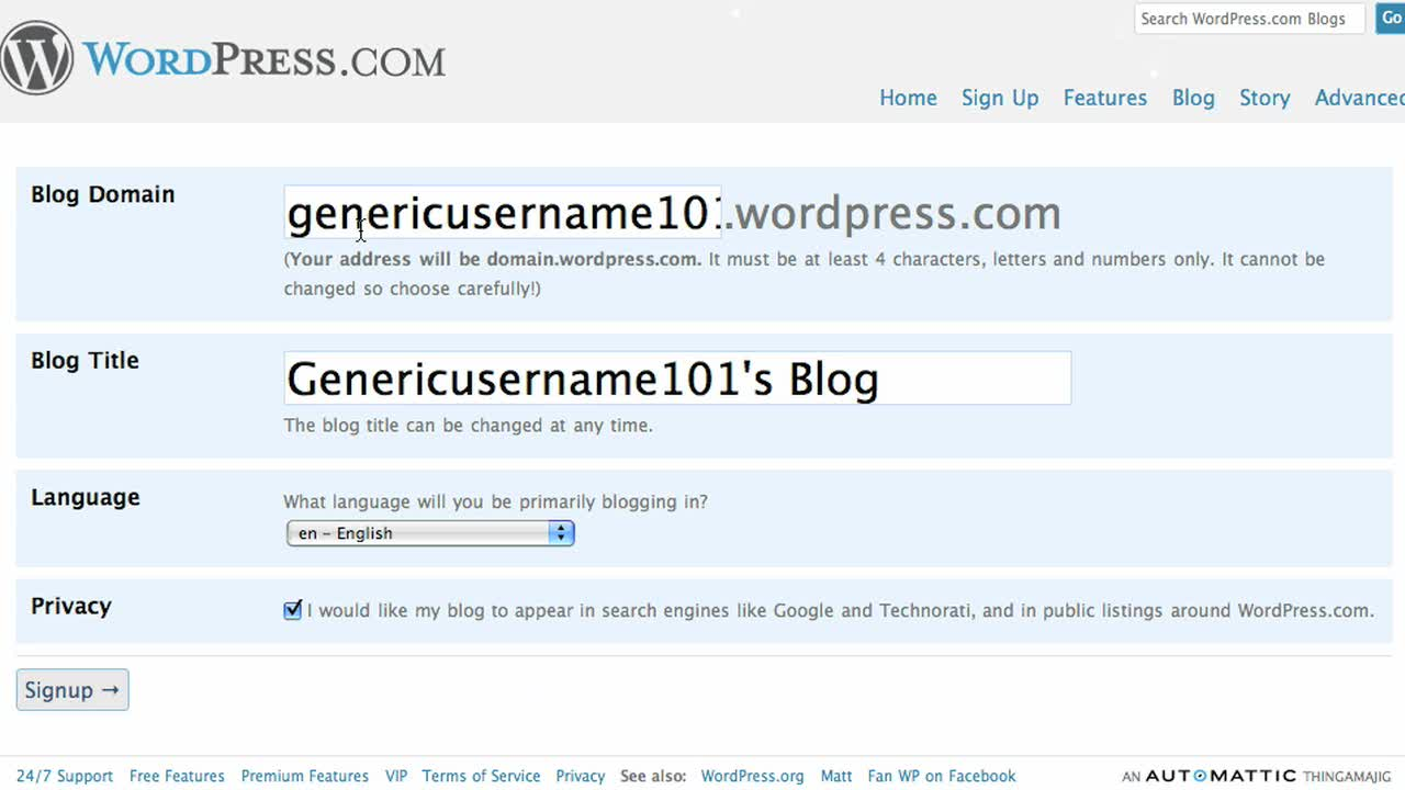 Signing up with WordPress.com