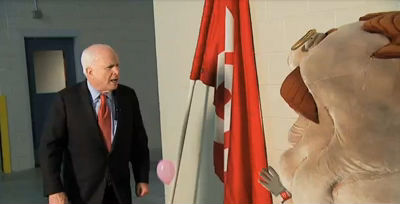 John McCain gives Teddy Roosevelt a pep talk on HD scoreboard