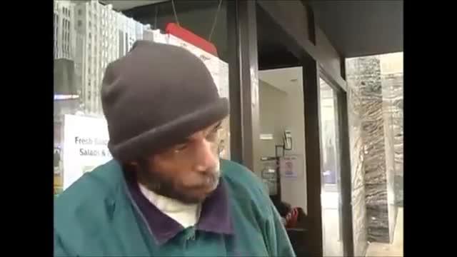 HOMELESS MAN TEARS UP- 'I'M NOT A BUM, I'M A HUMAN BEING