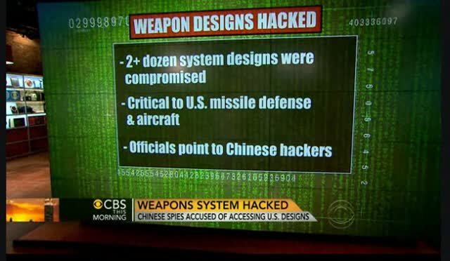 CHINESE CYBER SPIES ACCESS OUR SENSITIVE WEAPONS
