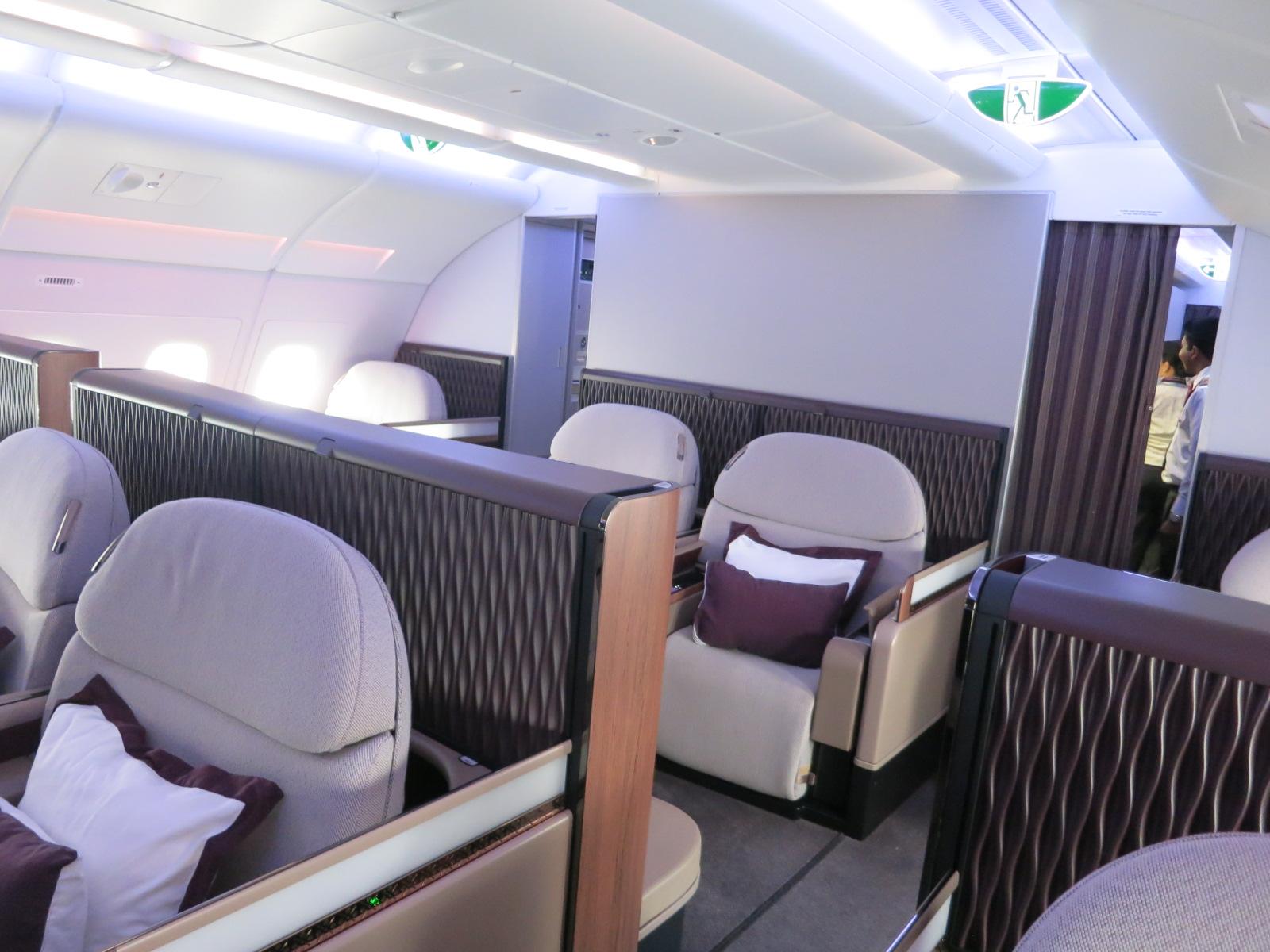 Qatar Airways A380 first class cabin Bangkok-Doha