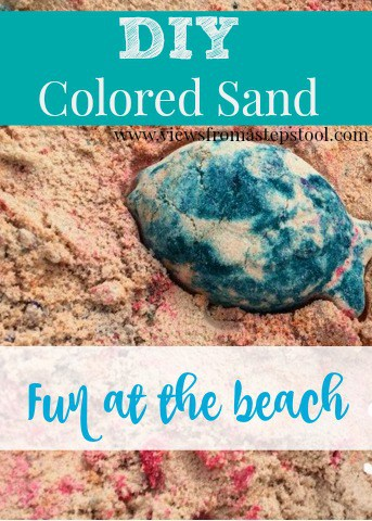 Grab your food coloring and head to the beach. We are SO doing this next time we go!