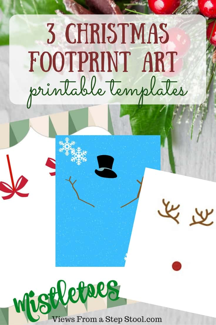 These Christmas footprint art templates are perfect for making homemade artwork or cards that can double as gifts for the holidays!