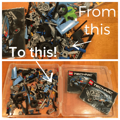 This lego hack will keep the mess contained while building, AND will double as storage for all of those pieces... my two BIGGEST issues with Legos!