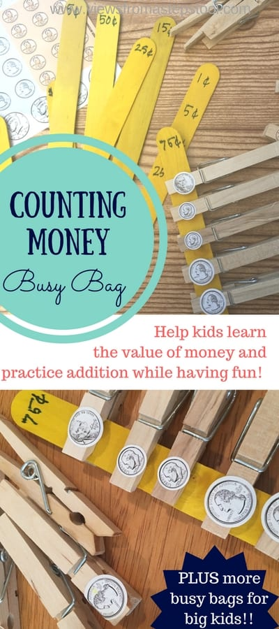 This counting money busy bag is perfect for big kids who want to learn how to add money and the value of coins!