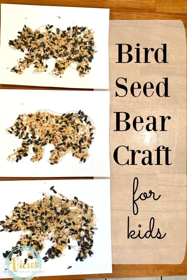 This simple bear craft for kids uses bird seed on a simple drawn bear outline. Grab the free printable template and get crafting!