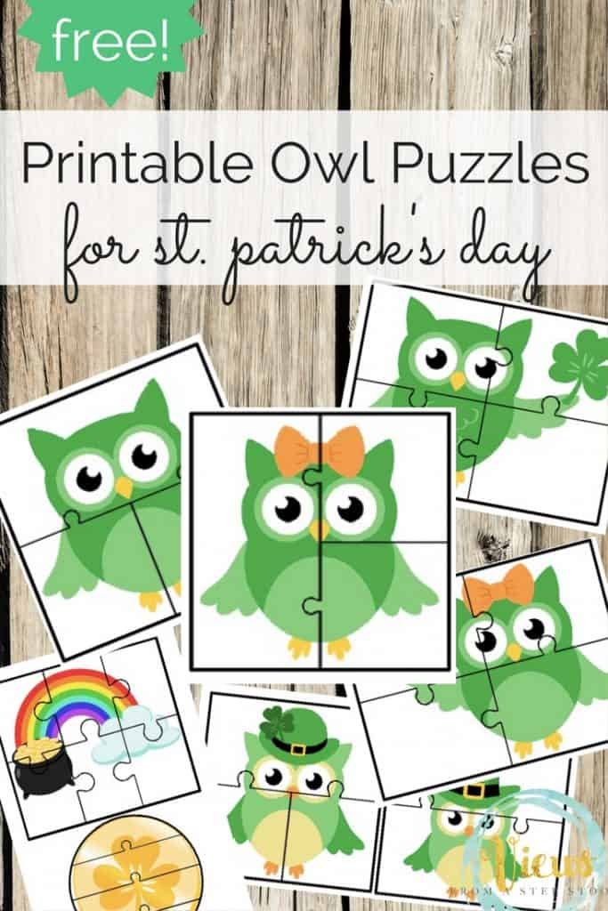 These owl puzzle cards are perfect for a March busy bag when celebrating St. Patrick's Day. Toddlers and preschoolers will love these!
