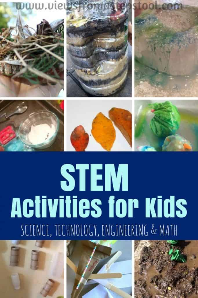 These STEM activities for kids include science, technology, engineering and math based learning activities to create a hands-on, play based education.