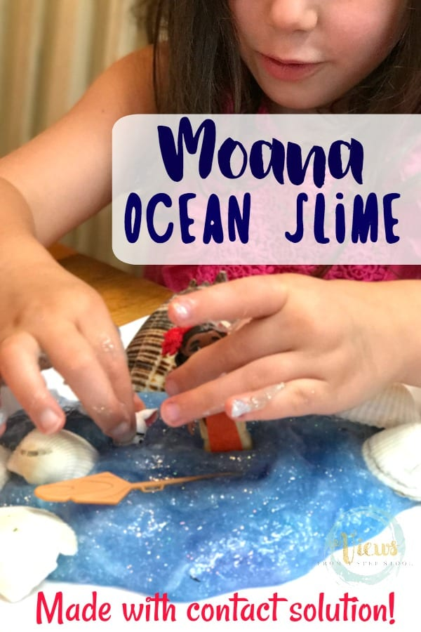 This Moana ocean slime has the perfect texture for sensory play and is made without borax, using contact solution instead with Moana toys and shells.