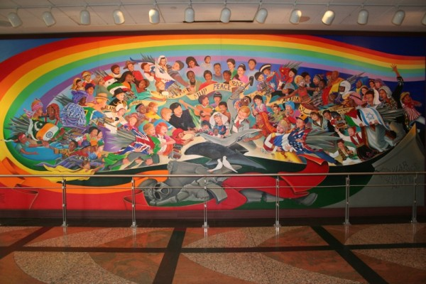 Strait is the gate narrow is the way denver for Mural in denver airport