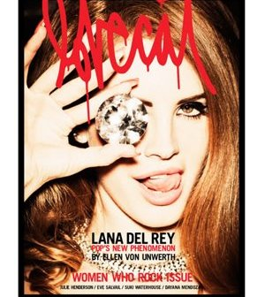 """""""Pop's new phenomenon"""" Lana Del Rey on the cover of Lolcat magazine hiding one eye and showing who she's down with."""